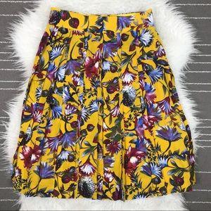 J. Crew silk double pleated floral midi skirt